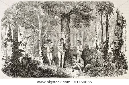 Dutch Guyana (at present days Suriname): natives in the forest, old illustration. Created by Worms, published on L'Illustration, Journal Universel, Paris, 1863 poster