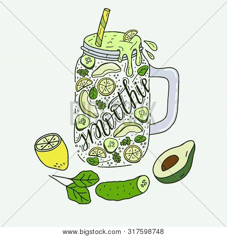 Smoothies In A Glass Bottle With Straws. Fresh Fruit Smoothie With Avocado, Cucumber And Lemon. Heal