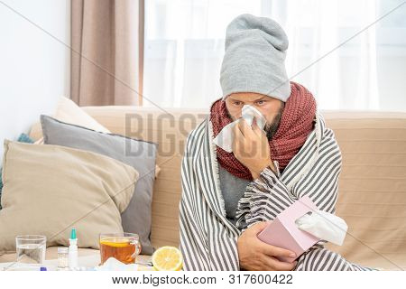 High Temperature Concept. Man Feels Badly Ill. How To Bring Fever Down. Cold Symptoms And Causes. Si