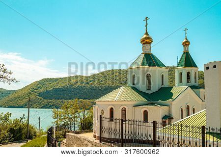 Orthodox Church Of St. Xenia Of St. Petersburg In The Village Of Abrau-durso On A Hill. Russia, Kras