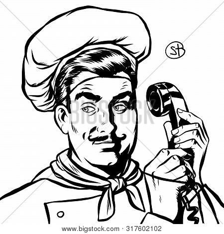 Serious Cook Talking On A Retro Phone. Pop Art Retro Vector Illustration Drawing
