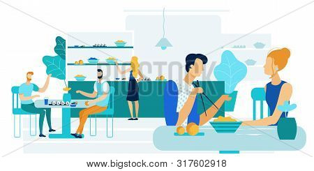Office Workers Lunch Together Vector Illustration. Men And Women Eat During Lunch Break. People Eat
