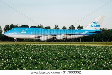 Amsterdam / Netherlands - July 3, 2017: Klm Royal Dutch Airlines Boeing 747-400 Ph-bfg Passenger Pla