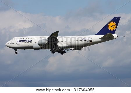 Frankfurt / Germany - August 17, 2014: Lufthansa Boeing 747-8 D-abyf Passenger Plane Landing At Fran