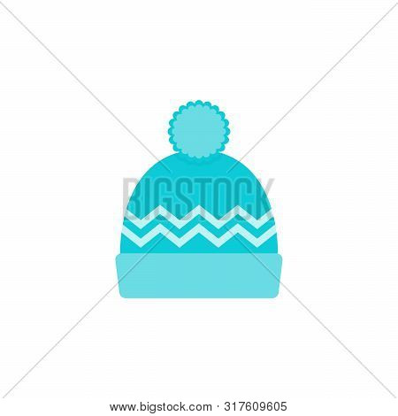 Winter Hat Icon. Vector. Knit Wool Beanie With Pompom. Blue Knitted Ski Cap Isolated On White Backgr