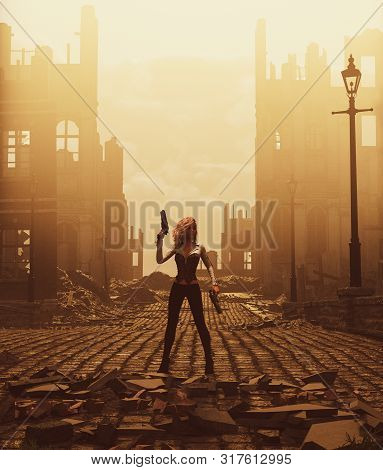 Sci-fi Fiction Girl With Pistols In Ruined City,3d Illustration For Book Cover