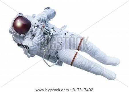 The Astronaut, With The Device In Hands, In A Space Suit, Isolated On A White Background. Elements O