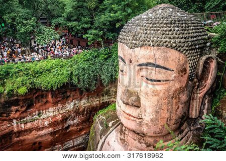 Close-up View Of The Head Of Leshan Giant Buddha In Leshan Sichuan China