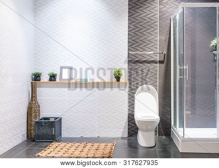 Bathroom Interior With White Walls, A Shower Cabin With Glass Wall, A Toilet And Sink