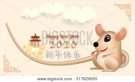 Chinese New Year 2020 Greeting Card Wth Cute Rat, Zodiac Sign, On Ligh Pink Background. Vector Illus