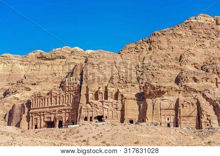 A View From The Royal Tombs (silk Tomb And Corinthian Tomb) In Ancient City Of Petra, Jordan.