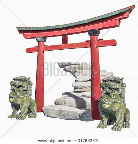 Eastern Traditional Composition. Gates With Stone Stairs And Sculptures Foo Dog. 3d Render Chinese T