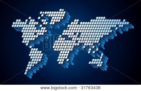 Dotted (square pixel) world map. Vector illustration
