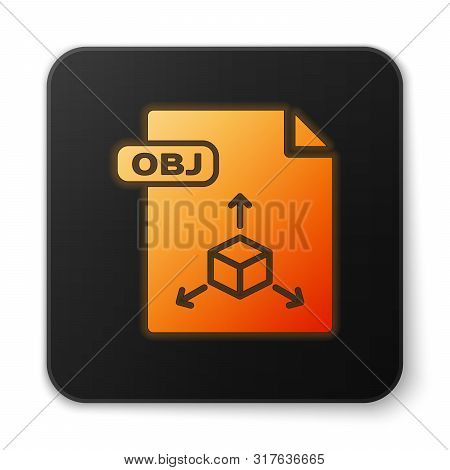 Orange Glowing Neon Obj File Document. Download Obj Button Icon Isolated On White Background. Obj Fi