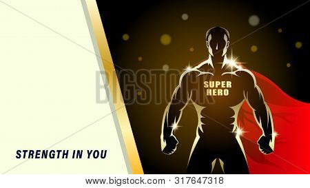 Super Hero. Silhouette Gold Athlete, Brawny Man With The Red Cloak On A Black Background. Light Effe