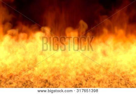 Melting Fire On Black Background, Fire From Image Bottom - Fire 3d Illustration