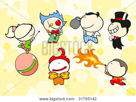 Set of images of funny kids #64, circus theme