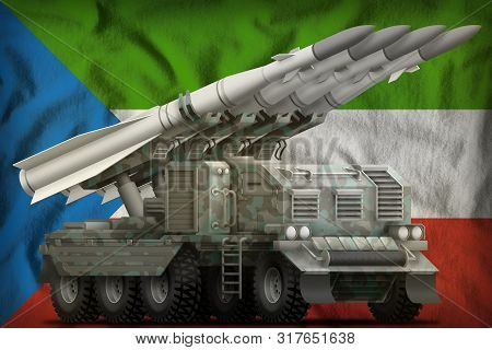 Tactical Short Range Ballistic Missile With Arctic Camouflage On The Equatorial Guinea Flag Backgrou