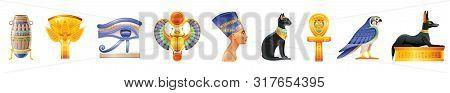 Ancient Egypt Icon Set. 3d God, Pharaoh Sign. Cartoon Vase, Lotus, Wadjet Eye, Scarab, Nefertiti, Cl