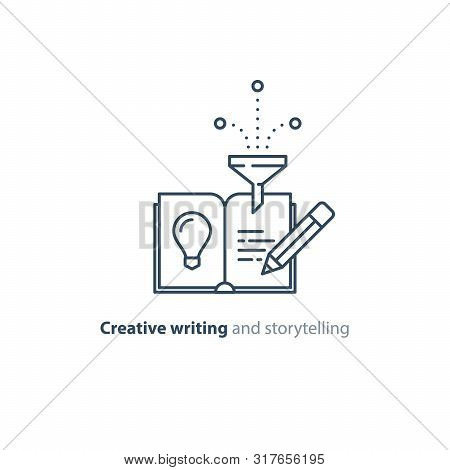 Creative Writing Concept, Storytelling, Content Management, Assay Composition, Education Book, Vecto