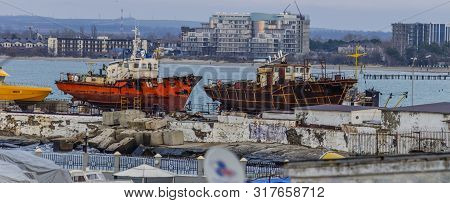 Anapa, Russia, 30 January 2018. Seaport With Boats On The Slipway In Anapa. Krasnodar Region
