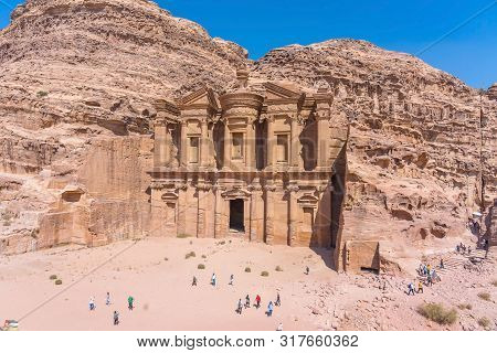 Petra, Jordan - October 13, 2018: Famous Facade Of Ad Deir In Ancient City Petra, Jordan. Monastery