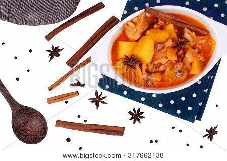 Isolated Of Thai Massaman Curry Paste Recipe.