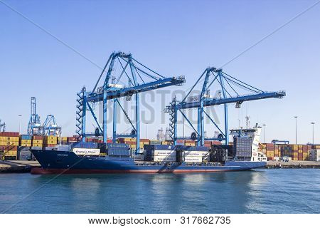 Las Palmas De Gran Canaria, Spain - December 9, 2018: Cargo Containers And Equipment In The Port Of