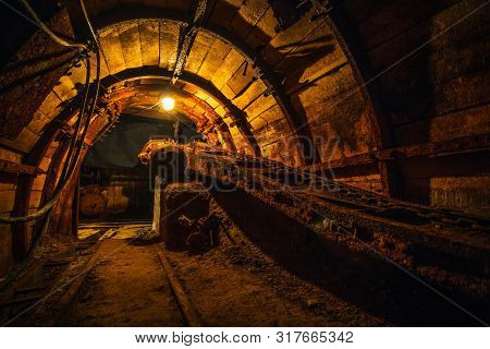 Old Equipment In A Coal Mine. Old Abandoned Coal Mine. Passages And Corridors In A Coal Mine.