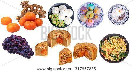 Isolated Food For Chinese Mooncake Festival As Friut, Varities Mooncake,fried Chinese Noodle And Chi