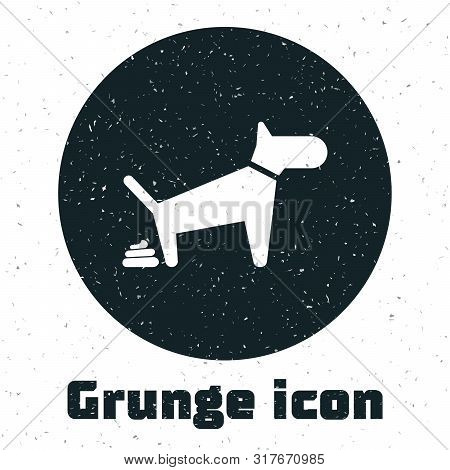 Grunge Dog Pooping Icon Isolated On White Background. Dog Goes To The Toilet. Dog Defecates. The Con