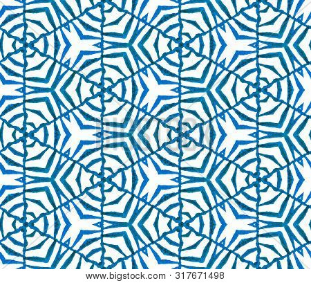 Blue Geometric Foliage Seamless Pattern. Hand Drawn Watercolor Ornament. Quaint Repeating Tile. Grea