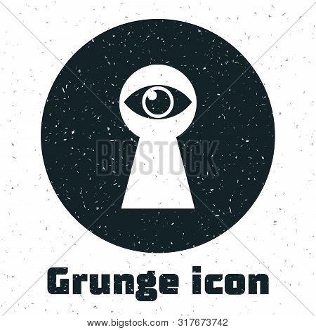 Grunge Keyhole With Eye Icon Isolated On White Background. The Eye Looks Into The Keyhole. Keyhole E