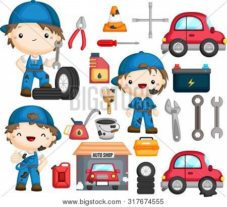 A Vector Of Mechanic And Many Object Related To It