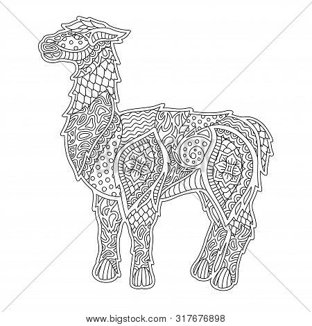 Beautiful Monochrome Linear Illustration For Coloring Book With Lama Silhouette On White Background