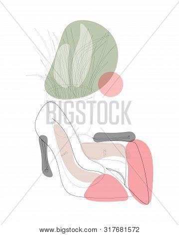 Continuous Line Drawing Of Pair Of Shoes In High Heels. One Line Drawing Abstract Fvector Art Shoes
