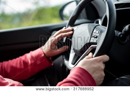 Man Hand Holding Car Steering Wheel - Male Hand Close Up Shallow Dof Depth Of Field Driving Car - Bo