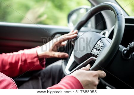 Man Hand Holding Car Steering Wheel - Male Hand Close Up Shallow Dof Depth Of Field Driving Car - Tw