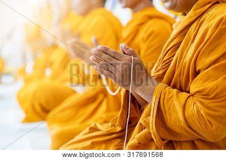 Buddhist Monks Chant Buddhist Rituals Yellow Robe