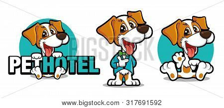 Cute Dog Holding A Big Signboard, Cute Dog Mascot Series. Dog Wears Tuxedo With Bowtie. Dog Waving H