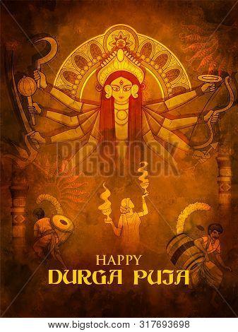 Illustration Of Goddess Durga In Happy Durga Puja Subh Navratri Indian Religious Header Banner Backg