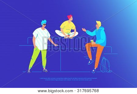 Casual Friends Talking And Smiling Together. Gradient Vector Illustration Of Three Young Teenegers A