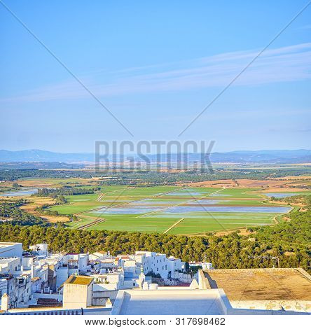 A View Of The La Janda County With The Marshes Of Barbate River. View From The La Corredera Walkway