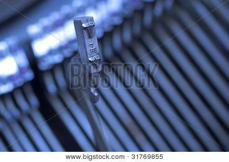 Macro detail of a vintage typewriter