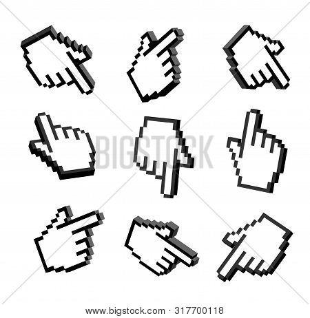 Set Of 3d Hand Pointers. Set 3d Pixel Hand. 3d Hand Cursors Icons Set. Set Hand Pointers Icons 3d Is