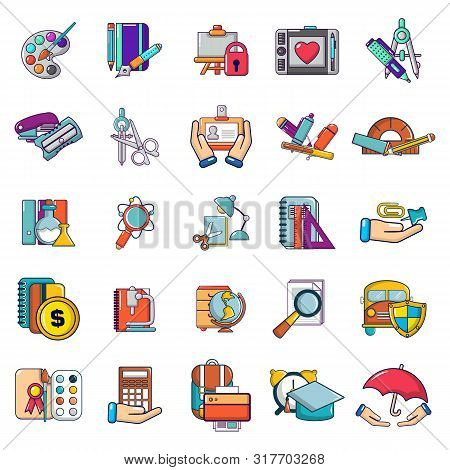 School Weekday Icons Set. Cartoon Set Of 25 School Weekday Vector Icons For Web Isolated On White Ba