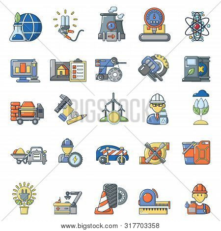 Combustible Material Icons Set. Cartoon Set Of 25 Combustible Material Vector Icons For Web Isolated