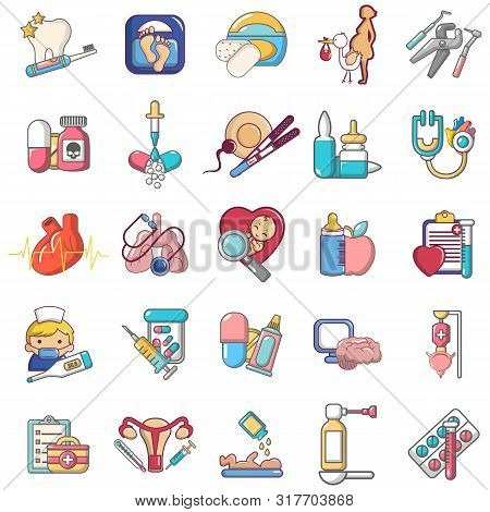 General Medical Icons Set. Cartoon Set Of 25 General Medical Vector Icons For Web Isolated On White