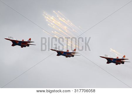Zhukovsky, Moscow Region, Russia - July 27, 2017: Aerobatic Team Swifts Mig-29ovt 156 Perfoming Demo