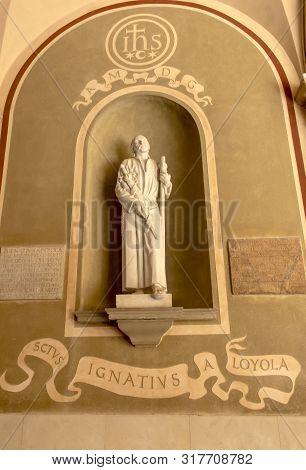 Montserrat, Spain, June 23, 2019: Figure Of Saint Ignatius Loyola In The  Benedictine Monastery In M